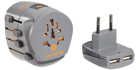 World Travel Adaptor Grounded & 2 x USB